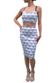 Palm Tree Print Pencil Skirt. Boutique Quality. Blue. ** Top & Skirt Sold as Separate Pieces.  (B-130)