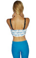Palm Tree Print Crop Top Boustier. Boutique Quality. Blue. ** Top & Skirt Sold as Separate Pieces.  (B-131)