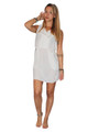 Sleeveless, White Spring Dress with Zipper Pockets from Boutique Brand: ELA!  (B-114)