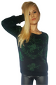 Lightweight Black Sweater with Metallic Green Cupid Print!  (A-64)