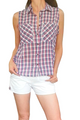 100% Cotton, Sleeveless Buttondown in Red Plaid Flannel!  (C-87)
