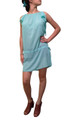 Mint Chiffon Tunic Dress/Top with Side Slits and Drawstring Waist.  (A-128)