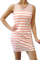 Striped Dress with Sheer Mesh Upper and Open Back! Peach.  (A-185)