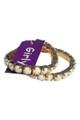 Trendy, Double Stretch Bracelet from GIRLY is Gold with White Stones!