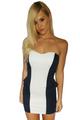 Strapless Bodycon Dress. Black & White Colorblock.  (C-174)