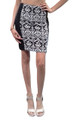 Pencil Skirt with Zipper Back from FELINE! Black with White Tribal.  (E-79)