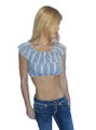 Off the Shoulder Peasant Top in Micro Geo Print! Boho-Chic Blue.  (A-125)