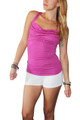 Pink Tri-Blend Tank Top with Stones on Chest & Braided Back!  (A-174)