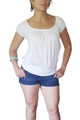 Light & Cool Boho Chic Top with Amazing Crochet Back! White.  (A-69)