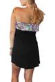 Strapless Belted Dress w/Ruffle Is Black/Purple! 95% Rayon.  (A-54)