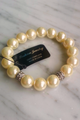 DEPARTMENT STORE FAUX PEARL STRETCH BRACELET! COLOR: HINT OF AMBER.  (G-21)