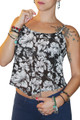 Major Name Brand Black & White Floral Print Spaghetti Top!  (D-84)