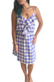 Fully Lined Blue & White Checkered Dress with Banded Middle!  (D-39)