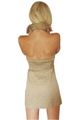 100% Cotton Halter Top Dress With Button Front And Stretch Back. Camel.  (A-48)