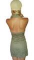 100% Cotton Olive Green Halter Dress with Stretch Back.  (A-47)