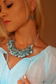 CHUNKY BLUE MINT TEAL FLORAL STATEMENT NECKLACE & EARRINGS SET!