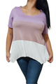 100% Rayon Top Lilac With Mocha Colorblock.  (C-10)