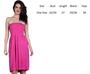 Strapless Ruched Elastic Bodice Skater Fit Fuchsia Dress (C-128)