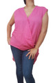 Plus Size Fuchsia/Hot Pink High Low Top With Criss-Cross V-Neck.  (A-167)