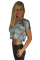 100% Rayon Top from BUCKLE in Grey Sublimation and Stones!  (A-120)