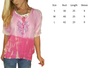 100% Cotton! Boho Tie Dye Embroidered Peasant Top.  Coral Pink.  (C-14)