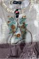 100% Cotton! Boho Tie Dye Embroidered Peasant Top.  Earth Mocha.  (C-15)