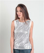 Fitted, Sequined Top with Keyhole Back! Silver.  (B-168)