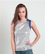 Fitted, Sequined Top with Keyhole Back! Blue, Silver.  (B-166)