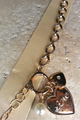 "Chunky Chain Charm Bracelet with Hearts, Pearls and ""LOVE""!  (G-10)"