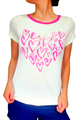 White Cotton Tee Is Adorable With Pink Hearts!  (A-168)