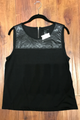 Black Sleeveless Top with Vegan Leather & Zipper Back From America's Hottest Brand!  (D-74)