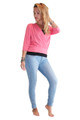 Pullover Cardigan With 3/4 Length Sleeves. Coral. Juniors Plus Size.  (B-110)