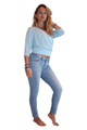 Pullover Cardigan With 3/4 Length Sleeves. Sky Blue. Juniors Plus Size.  (B-112)