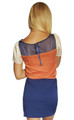 ColorBlock Dress With Sheer Upper. Navy/Orange.  (D-19)