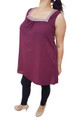 PLUS SIZE SLEEVLESS TOP WITH CROCHET TRIM! PURPLE.  (A-156)