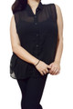 Sleeveless, Sheer Plus Size Button Down Top. Black.  (B-169)