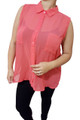 Sleeveless, Sheer Plus Size Button Down Top. Coral/Red. (B-172)