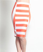 Long Striped Pencil Skirt from TASHA! Orange & White Colorblock.  (E-77)