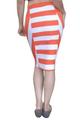 Long Striped Pencil Skirt from TASHA! Orange & White Colorblock.  (E-77)