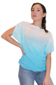 100% Cotton Blue/White Ombre Top With Cowl Neck! (C-58)