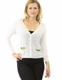 Beautiful Acrylic Material. Button Down Cardigan. Cream w/Green Pockets. (B-28)