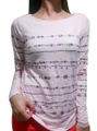 Long Sleeve Top  Stone Accents Color: Blush. From ELLE. (D-68)