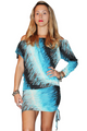 Silky Tunic Dress with Bodycon Lower! Blue. (C-178)