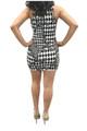 Black & White Bodycon Dress. Diamond Checkered Geo Pattern. (C-177)