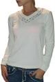 100% Cotton V-Neck Sweater With Stones! Cream (H-29)