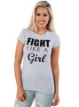 95% Cotton Long Tee: FIGHT LIKE A GIRL!  (D-95)