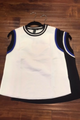 WHITE CREWNECK TOP WITH BLUE & BLACK TRIMS FROM LABIJOU! (A-14)