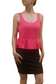 Peplum Dress from Amazing Brand: CAREN SPORT! Coral & Black Colorblock. (F-30)