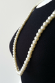 LONG FAUX PEARL NECKLACE WITH EARRINGS. COLOR: NATURAL PEARL. (G-84)
