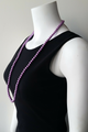 LONG FAUX PEARL NECKLACE WITH EARRINGS. COLOR: PURPLE.  (G-83)